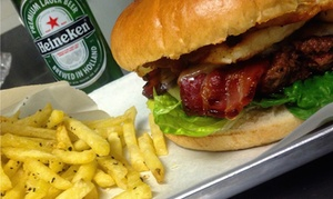 Meat Stop: Handmade Burger with Rosemary Salted Fries and Beer for Two, Four or Six at Meat Stop (Up to 52% off)