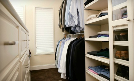 7-Foot-Tall Closet Makeover with 2 Stacked Hanger Spaces, 1 Large Hanger Space, and 1 Shelf (a $400 value)  - Closets by Design in