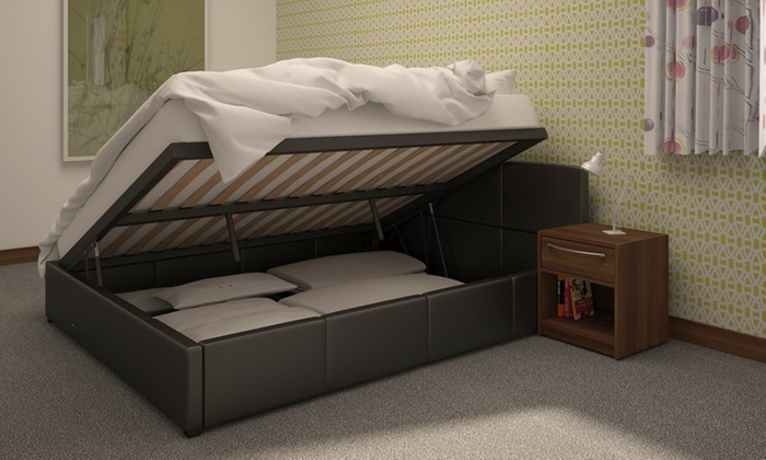 Side Lift Up Bed Storage : Ottoman storage bed frame groupon goods