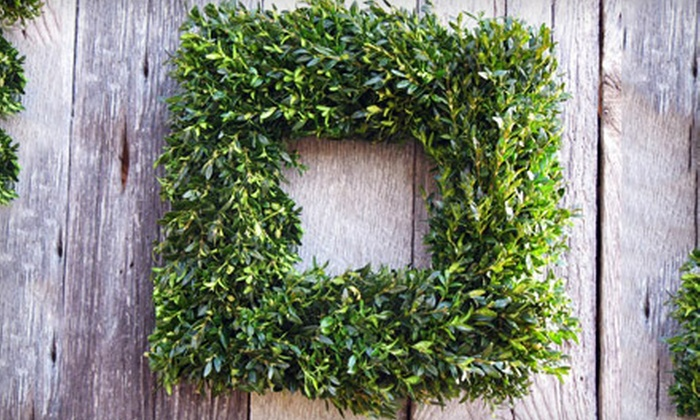 Lavish Floral & Gifts - Port Moody: 20-Inch Square Boxwood Wreath or $25 for $50 Worth of Gift Baskets at Lavish Floral & Gifts in Port Moody (Half Off)