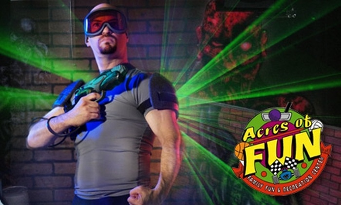 Acres of Fun - Wooster: $11 for Two Games of Laser Tag, Two Mini Bowling Games, a Slice of Pizza, a Soda, and 24 Tokens at Acres of Fun in Wooster