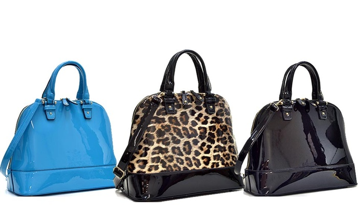 Faux Patent-Leather Handbag | Groupon Goods