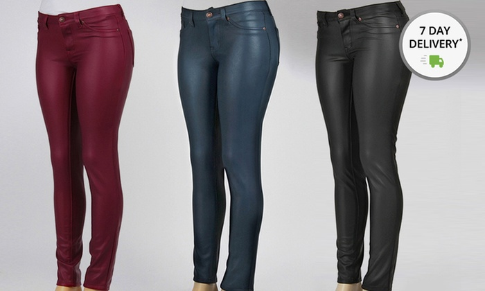 Vegan Leather Stretch Pants | Groupon Goods