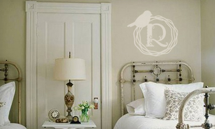 Lacy Bella Designs: Family-Name Decal or Bird-Wreath Monogram Decal from Lacy Bella Designs (Up to 52% Off)