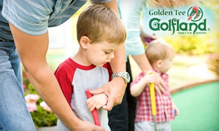 Golfland - Multiple Locations: $14 for One Round of Mini Golf for Two People, Plus Two Sodas, and 30 Game Tokens at Golfland (up to $28 Value)