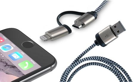 1, 2 o 4 cables cargadores trenzados de aluminio Lightning/Micro USB de 2 en 1 Oferta en Groupon