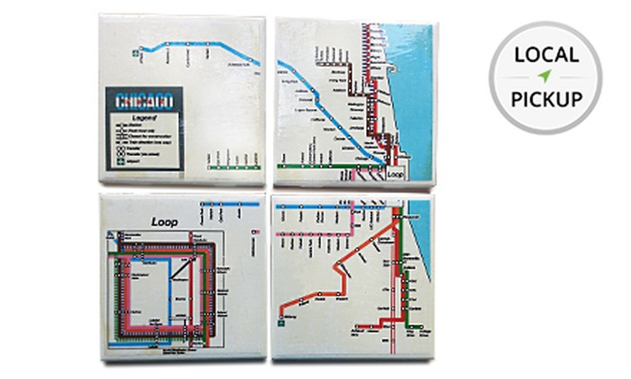 Replica Chicago - Jefferson Park: Set of 4 Handmade Chicago El Train Coasters. Pick Up in Store at Replica Chicago.