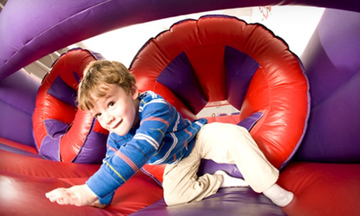 BounceU - Plano: Unlimited Summer Bounce Visits or Day of Summer Camp with Five Open-Bounce Visits at BounceU (51% Off)