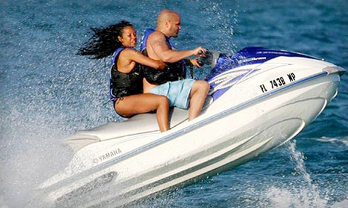 Miami BeachSports - Oceanfront: $89 for a WaveRunner Package with Two Chaise Lounges at Miami BeachSports (Up to $210 Value)