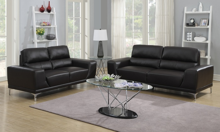 Claudius Contemporary Bonded Leather Sofa And Loveseat Set