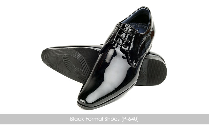 shiny black formal shoes for