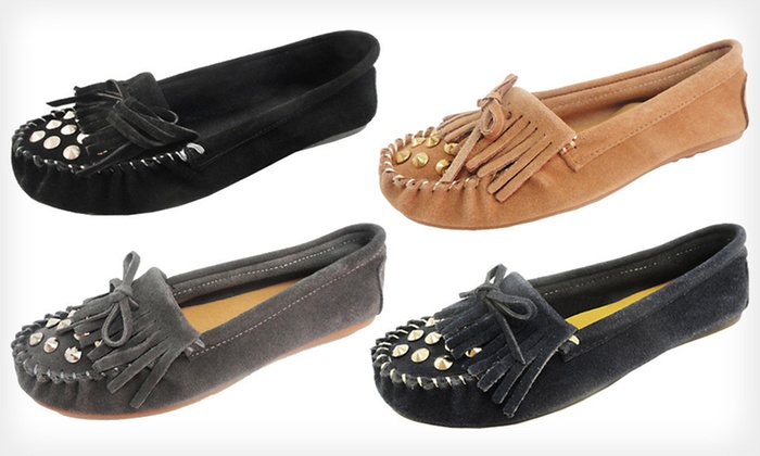 Bucco Yoda Suede Studded Moccasins: $25 for Bucco Yoda Suede Studded Moccasins ($70 List Price). Multiple Sizes and Colors Available. Free Shipping.