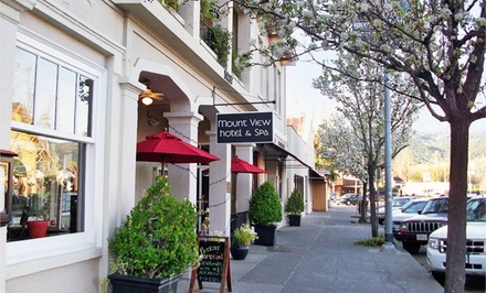 1- or 2-Night Stay with Breakfast, Bottle of Wine, and Spa Credits at Mount View Hotel & Spa in Calistoga, CA