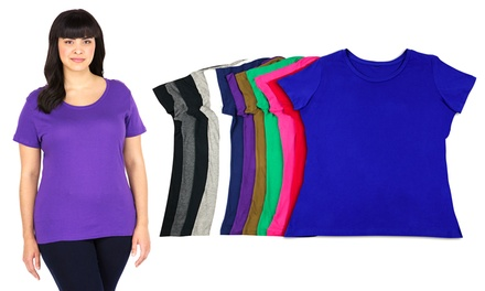 Plus Size Scoop-Neck T-Shirts (12-Pack) | Groupon Exclusive