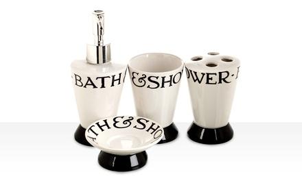 Four-Piece Ceramic Bathroom Set | Groupon Goods