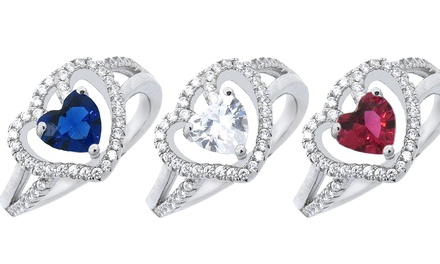 Forever Hearts Collection Cubic Zirconia Ring in Sterling Silver