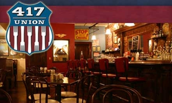 417 Union - Downtown Nashville: $10 for $20 Worth of Classic American Eats and Drinks at 417 Union