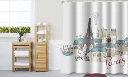 Luxury Shower Curtain and Hooks Set Or Separates | Groupon