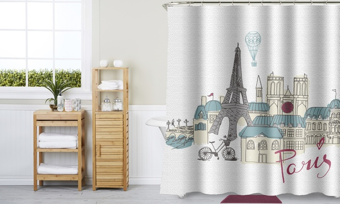 Bathroom Shower Curtain Bundle Set 17 Piece