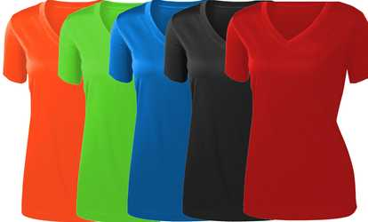 19a086c7eb9 Shop Groupon Women s Short-Sleeve Colorful Sports T-Shirt. Plus Sizes  Available.
