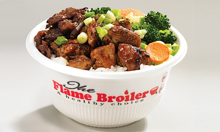 The Flame Broiler The Rice Bowl King - Buena Park: $12 for Two Groupons Each Good for $10 Worth of Rice Bowls & Plates at The Flame Broiler The Rice Bowl King