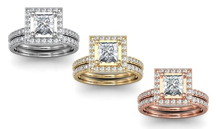 1.50 CTTW Pavé Diamond Bridal Set in 14K Gold
