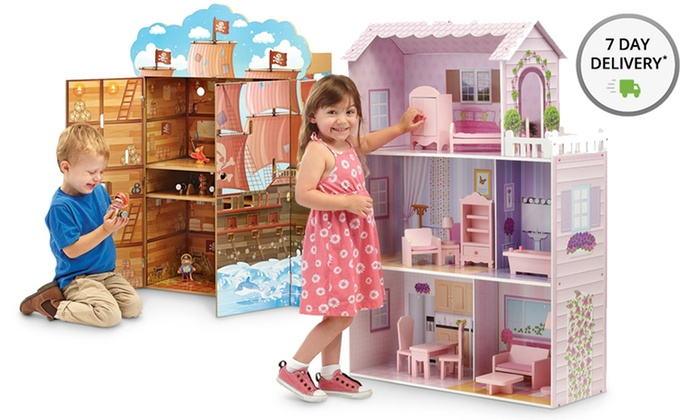 Teamson Wooden Playhouses: Teamson Fancy Mansion or Pirate Boat Wooden Playhouses. Free Returns.