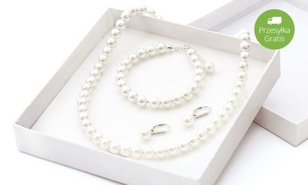 Od 99,99 zł: 3-częściowy zestaw biżuterii z białych pereł wykończony srebrem próby 925 – 2 komplety do wyboru (do -91%)