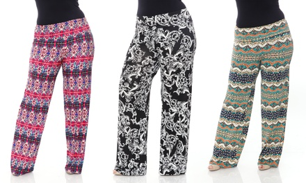 Women's Printed Plus-Size Palazzo Pants