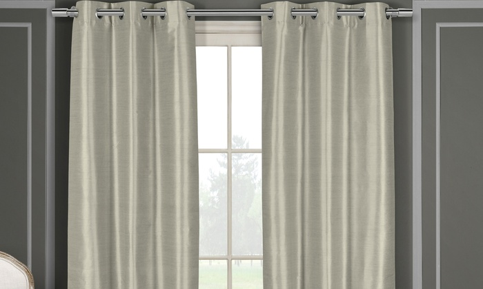 Heavy Faux-Silk Double-Layered Blackout Thermal Panel Pair
