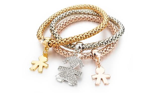 Set di 3 bracciali con swarovski elements disponibili in vari modelli