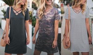 Women's V-Neck Criss-Cross Shirt Dress. Plus Sizes Available.