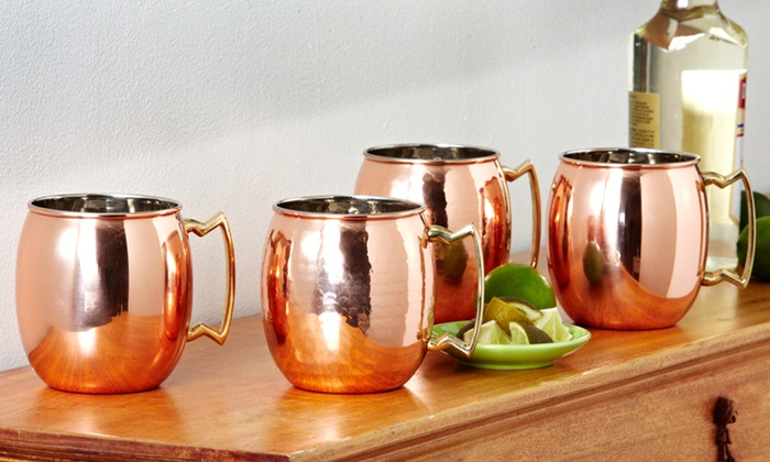 Set of Two 24-Ounce Solid Copper Moscow Mule Mugs: $38.99 for a Set of Two 24-Ounce Solid Copper Moscow Mule Mugs ($66 List Price). Two Styles Available. Free Shipping.