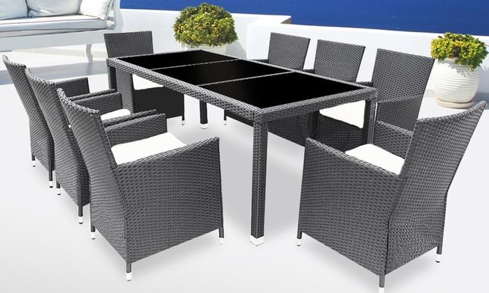 set meuble jardin en polyrotin