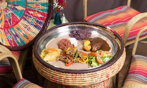 Ras Dashen Ethiopian Restaurant: Meat or Vegetarian Combination Platter with Sides for Two at Ras Dashen Ethiopian Restaurant