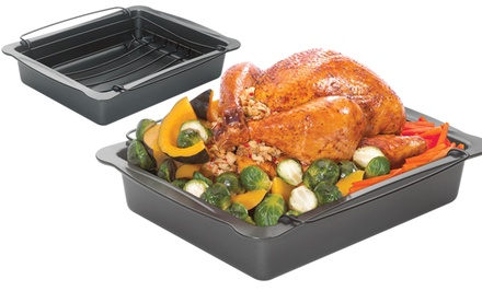 Roscho Carbon Steel Roaster with Floating Rack. Free Returns.