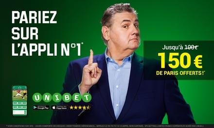 EXCLUSIVITÉ GROUPON : 50€ de bonus à l'offre standard de 100€ de Paris Gratuit soit jusquà 150€ sur UNIBET