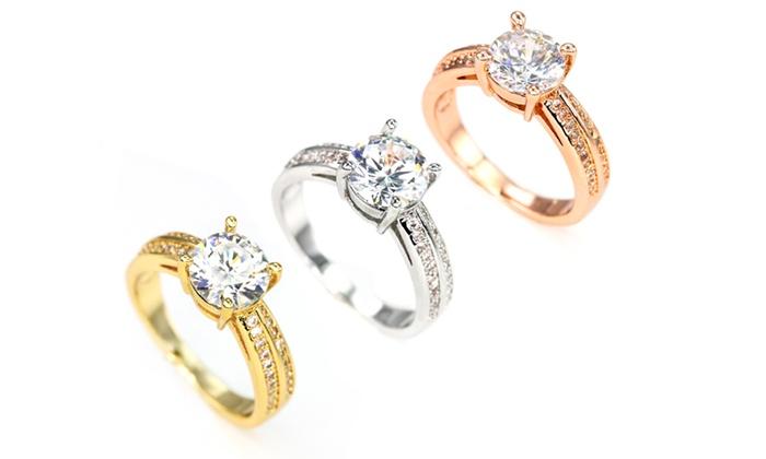 b055d5f75e22f Bague solitaire Swarovski®   Groupon Shopping