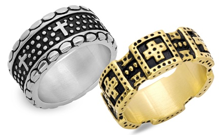 Men's Stainless Steel Ring with Cross Accents