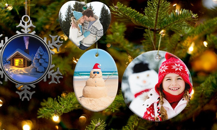 Customizable Ceramic or Pewter Ornaments: Customizable Ceramic or Pewter Ornament from $9.99–$11.99 from Picture It on Canvas.