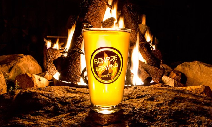 Bonfire Brewing - Eagle: Beer for Two or Four or Growler and Apparel Package for Two at Bonfire Brewing (Up to 55% Off)