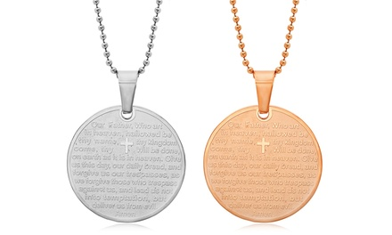 Our Father Round Prayer Pendant for Men or Women