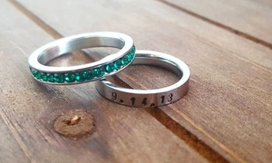 Dream Willow: Personalized Class Ring with Optional Birthstone or Two Birthstone Rings from Dream Willow (Up to 48% Off)