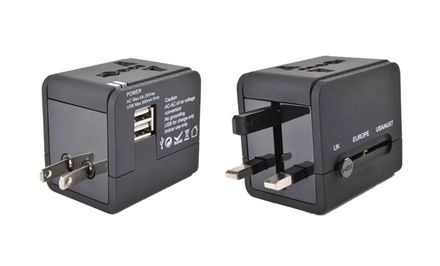 1 or 2 Travel Power Adapters with Dual USB Ports from $14.99–$22.99