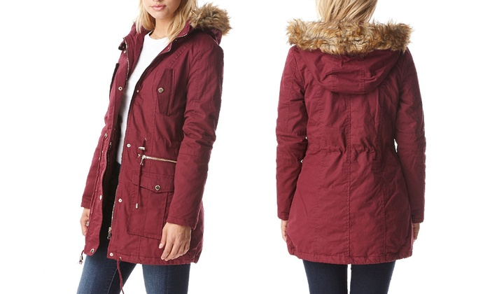 Women's Sherpa-Lined Cotton Parka Jacket with Hood (Size S)