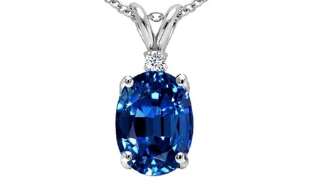 2.5 CTW Genuine Diamond and Sapphire Pendant in Sterling Silver