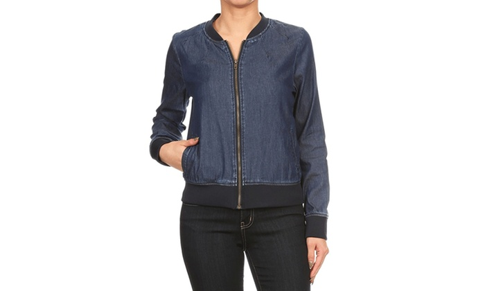 Women's Denim Fitted Bomber Jacket