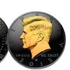 Black Ruthenium 2015 Half-Dollar Coin with 24K Gold JFK Portrait