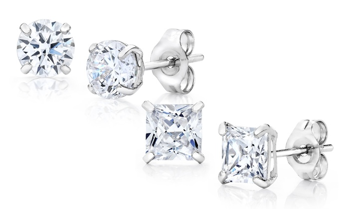 c5ee05311 Solid 14K White Gold and Swarovski Elements Round- or Princess-Cut Studs  from $14.99-$19.99. Swarovski Elements Stud Earrings