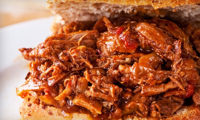 J & M Bar-B-Q - Multiple Locations: Barbecue Dinner for Two or Four or $25 for $50 Worth of Catering at J & M Bar-B-Q